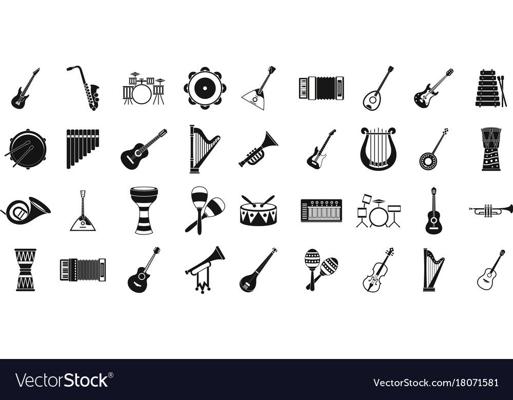 Musical instrument icon set simple style vector image