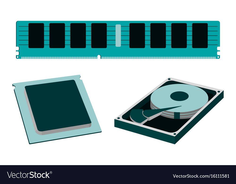 Parts for personal pc icon hdd ram cpu vector image