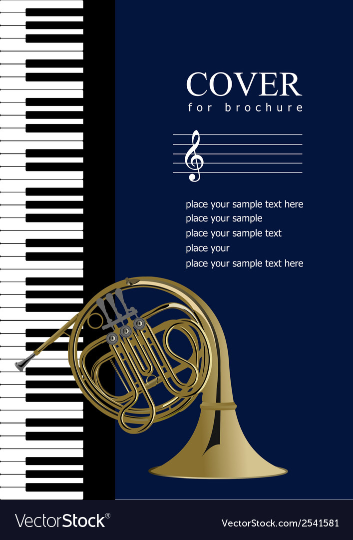 Piano with french horn vector image