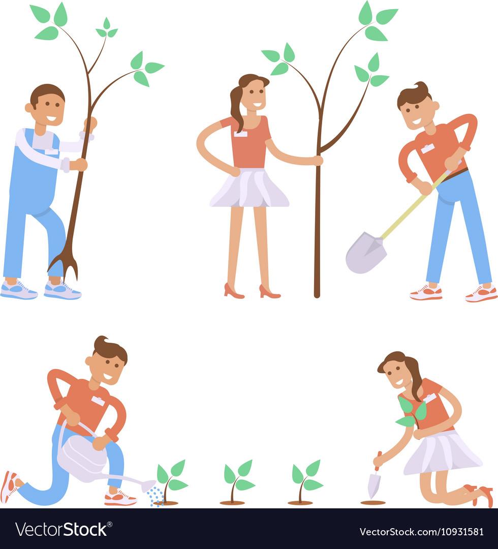 Set of cartoon characters vector image