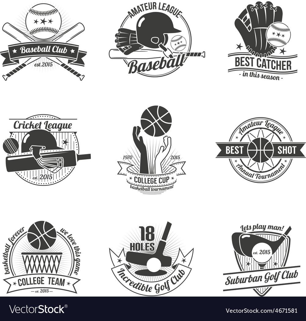Sport Label Set vector image