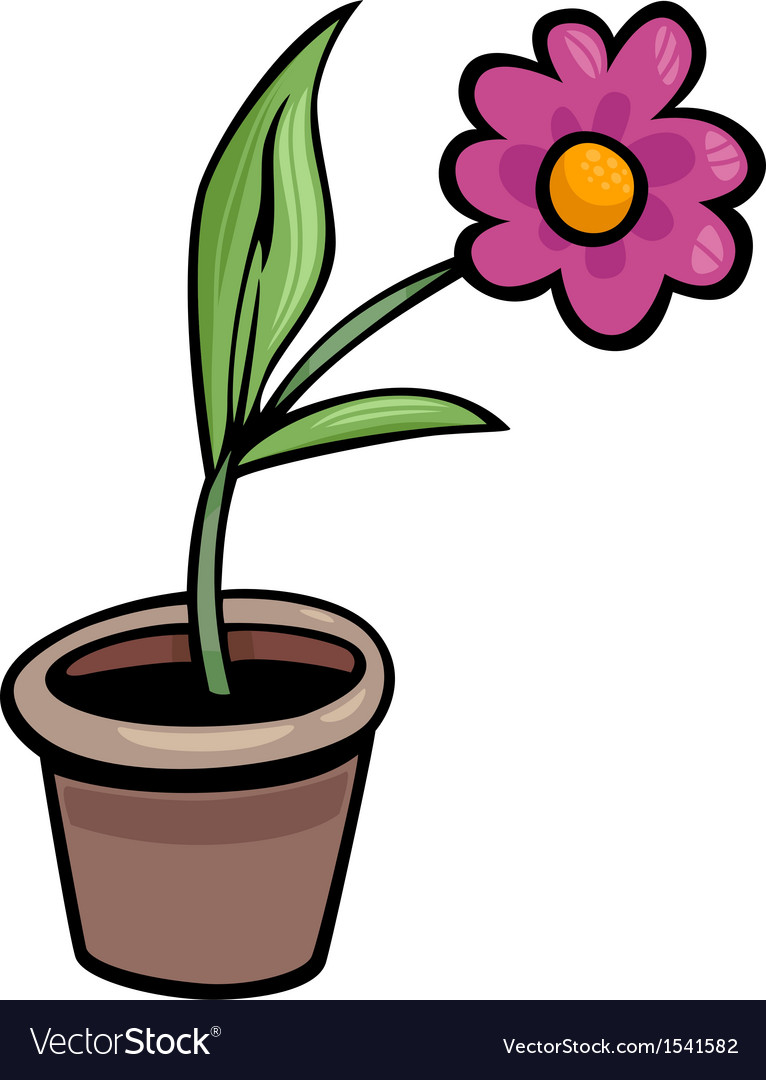 Flower in pot clip art cartoon Royalty Free Vector Image