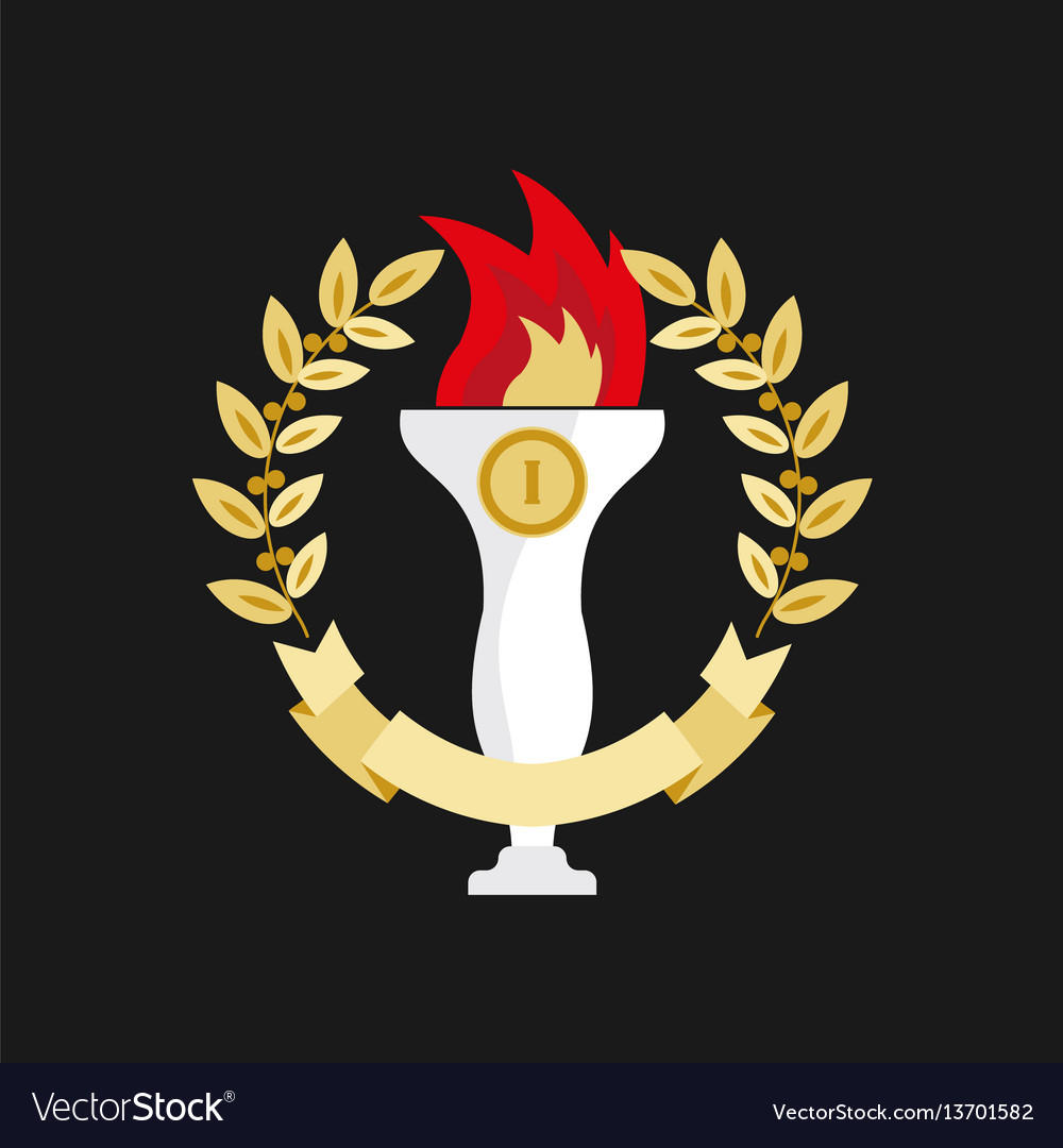 First place trophy in golden wreath on black vector image
