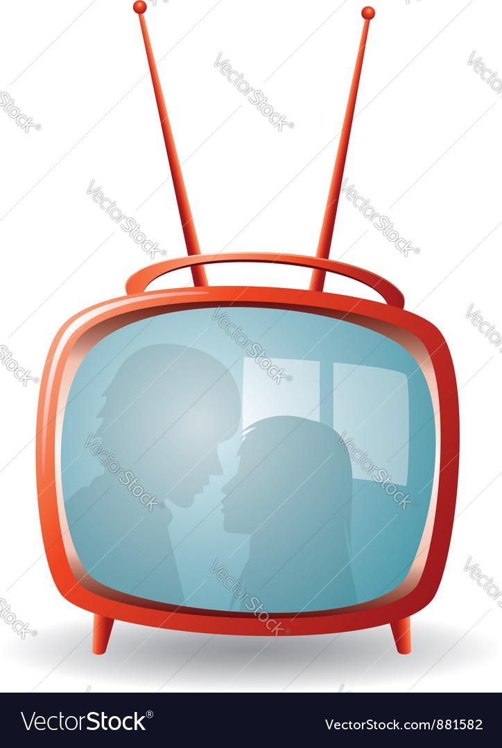 Red retro tv set vector image
