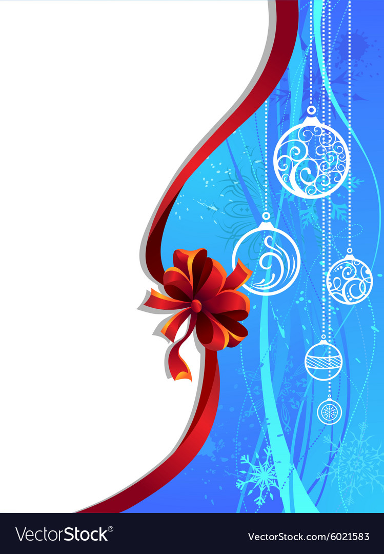 Blue Christmas wallpaper with red ribbon vector image