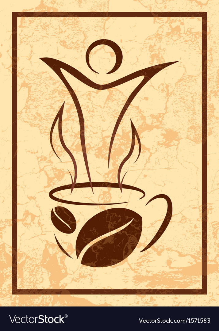 Cup of coffee in retro style vector image
