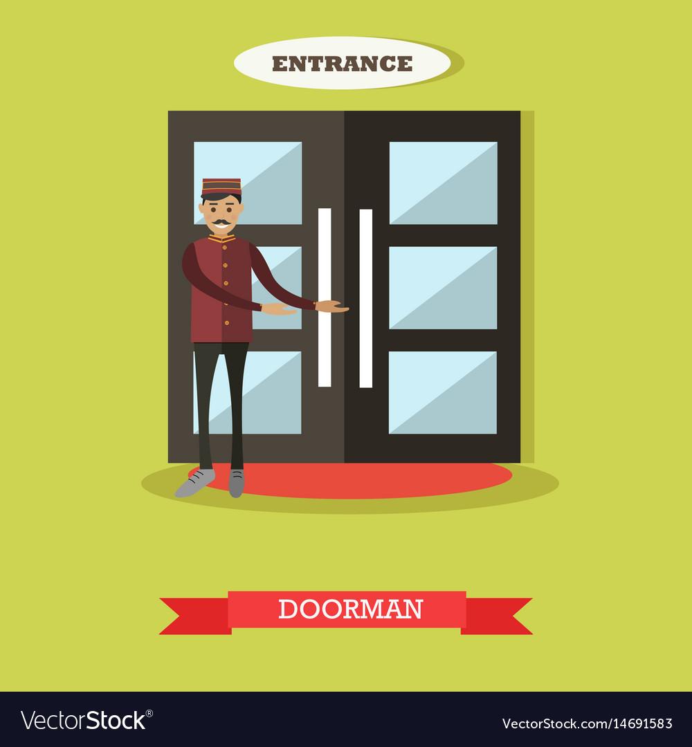 Hotel doorman in flat style vector image