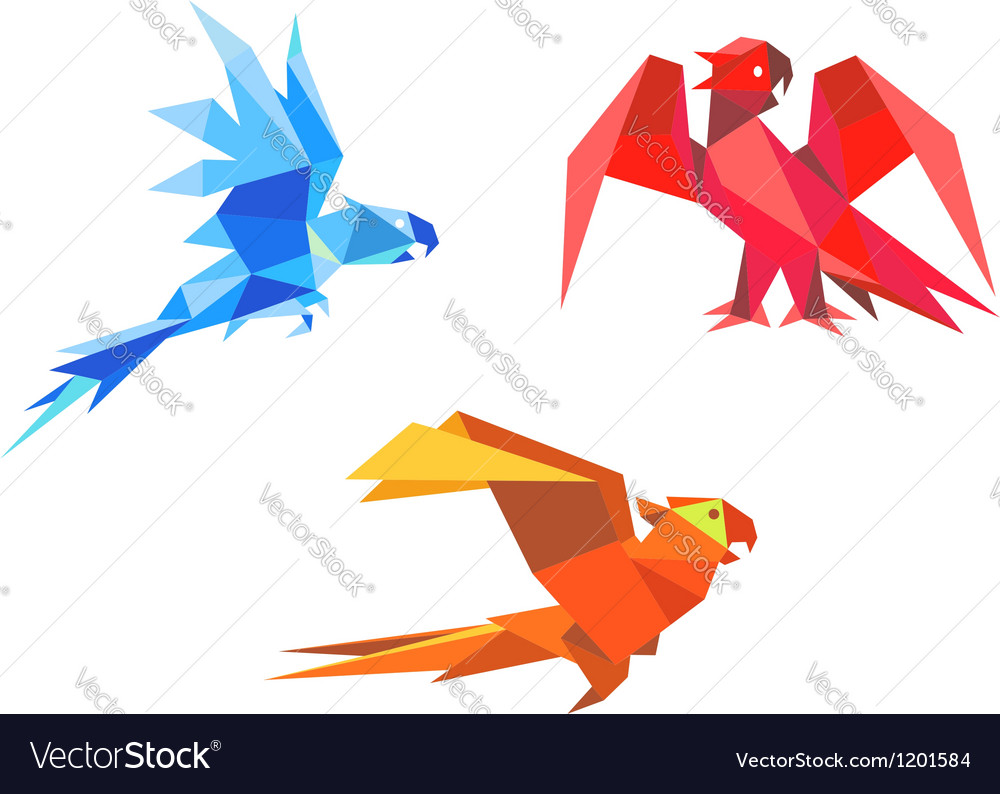 Origami parrots vector image
