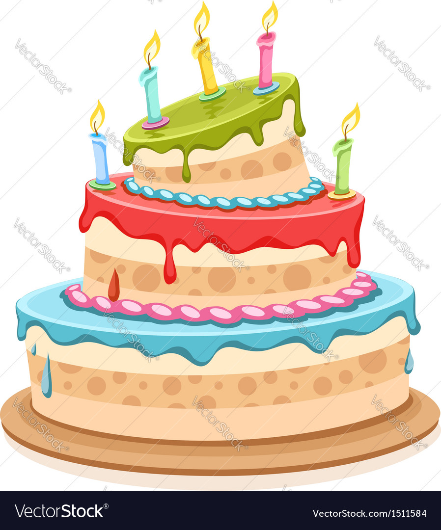 Sweet birthday cake with vector image