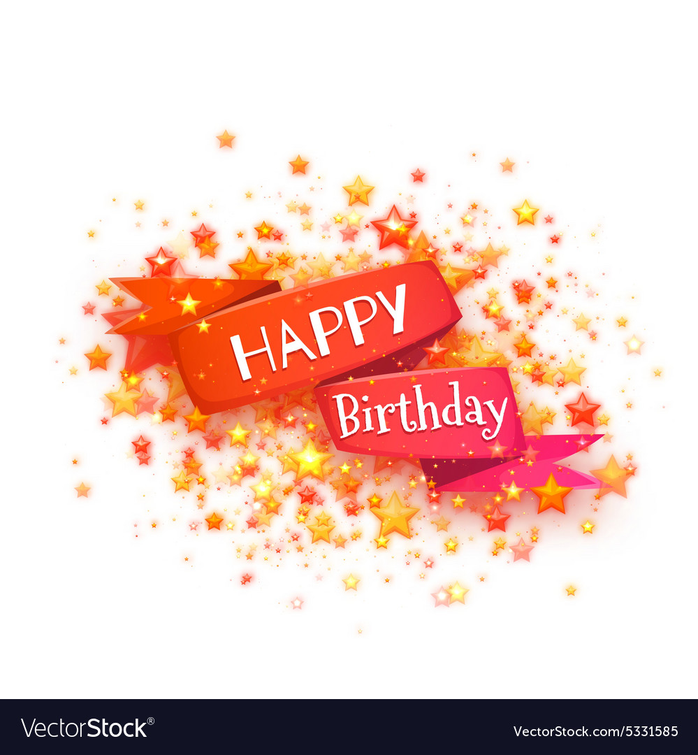 Red ribbon with Happy birthday title vector image