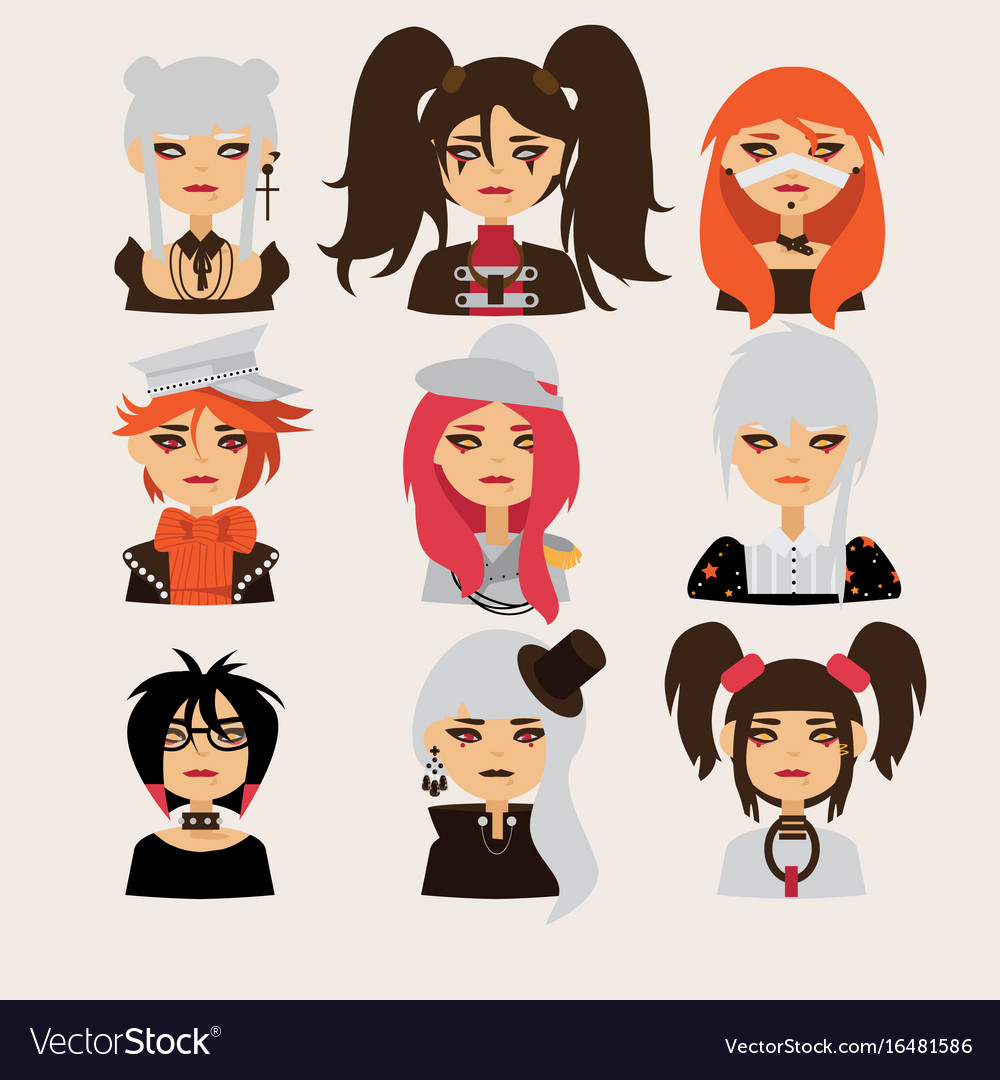 Set with lovely visual kei girls characters vector image