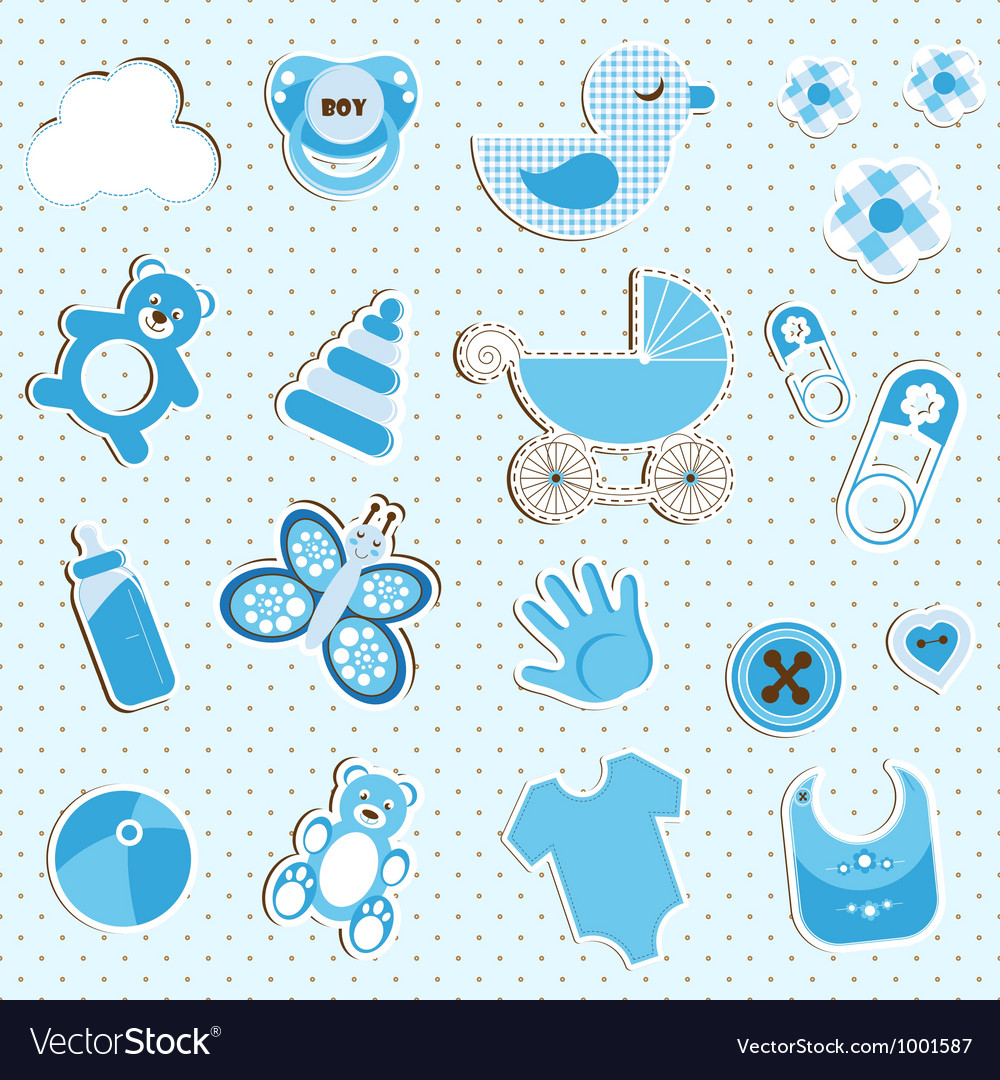 Scrapbook set of baby boy things vector image