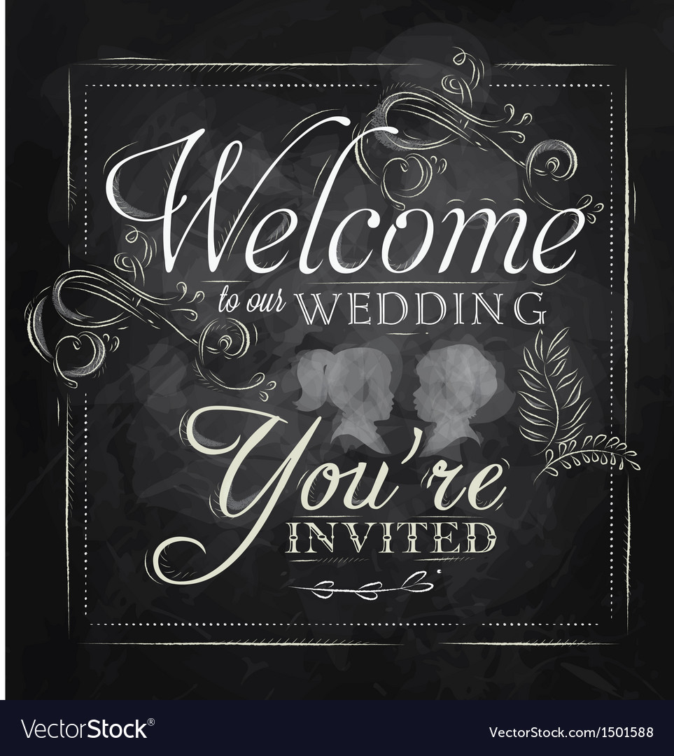 Wedding invitation chalk Vector Image