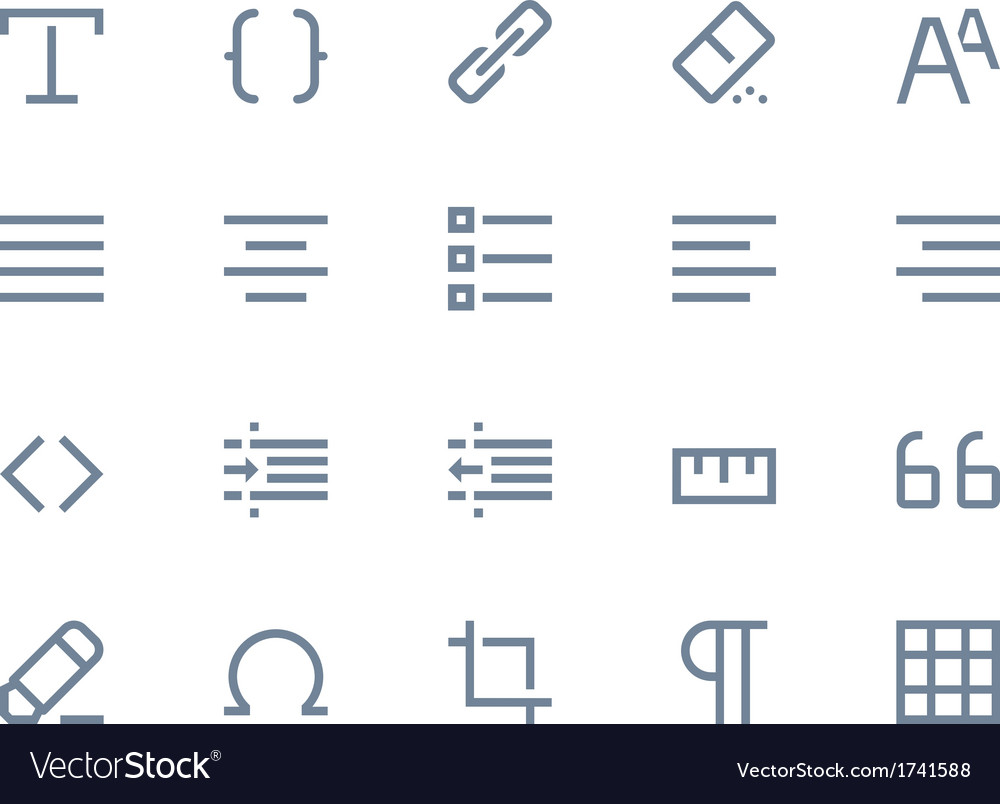 Editing icons line vector image