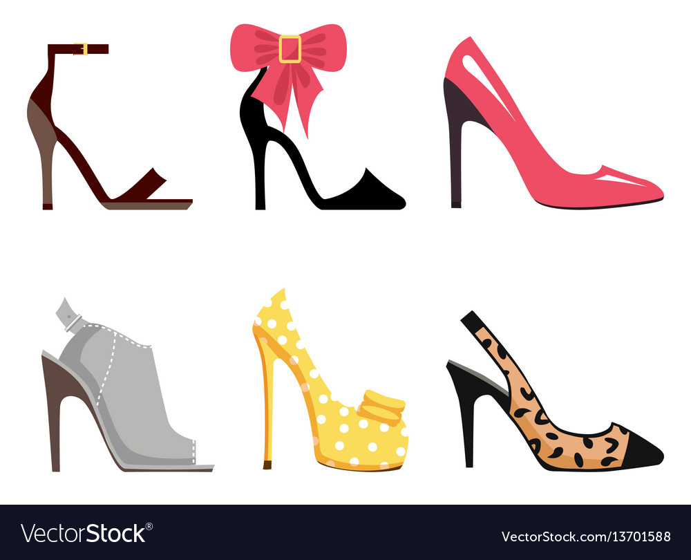 Female footwear set of isolated vector image