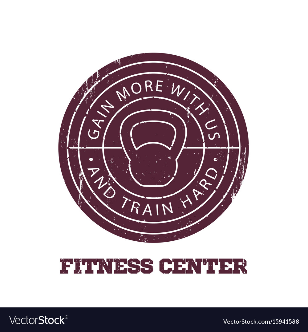 Fitness center round logo badge emblem vector image