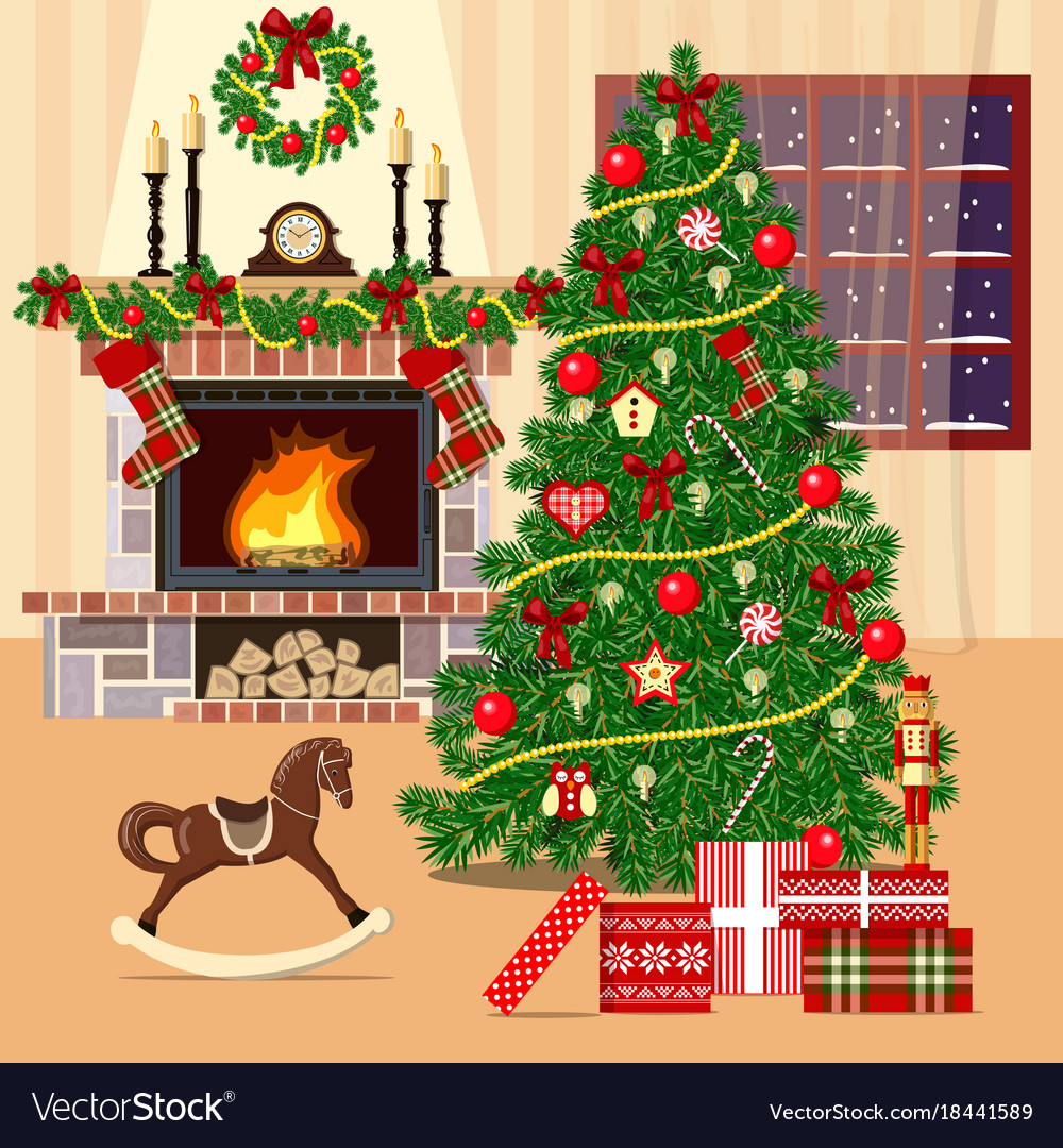 Gallery of Christmas Tree By Fireplace - Perfect Homes Interior ...