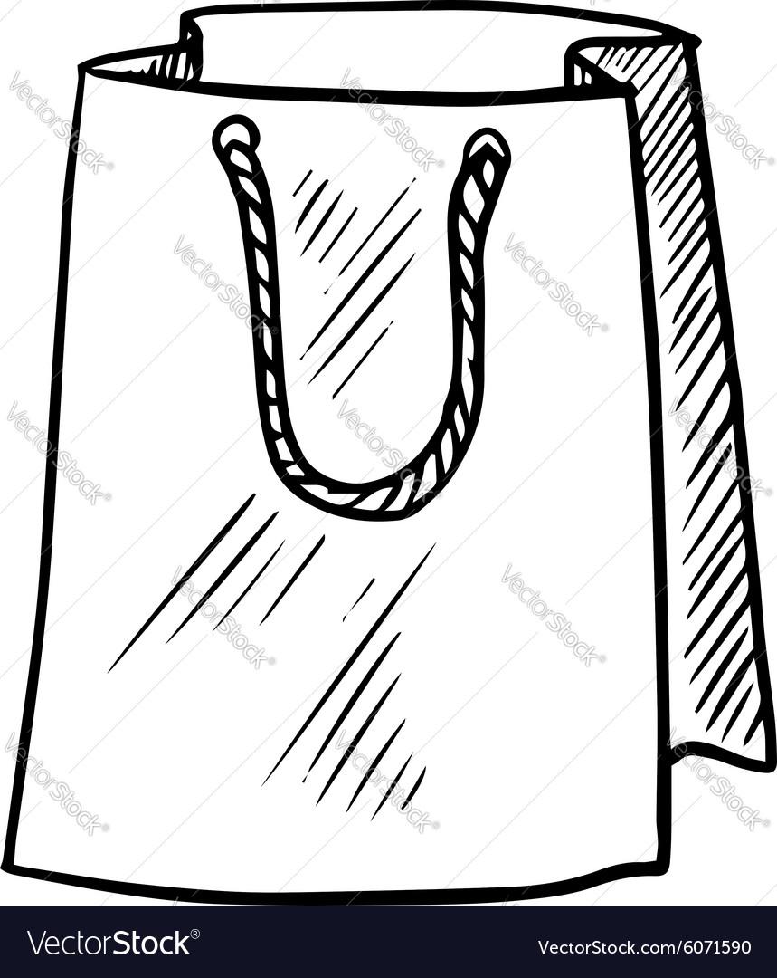 Paper bag sketch - Sketch Of Paper Shopping Bag Vector Image