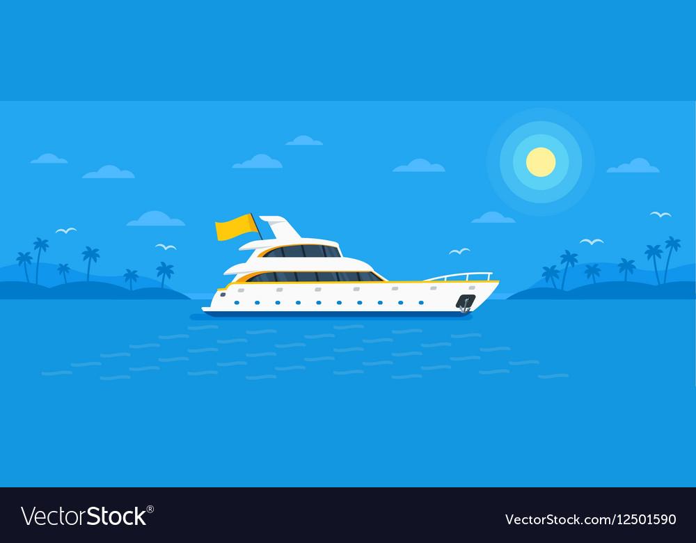 Motor yacht boat flat vector image