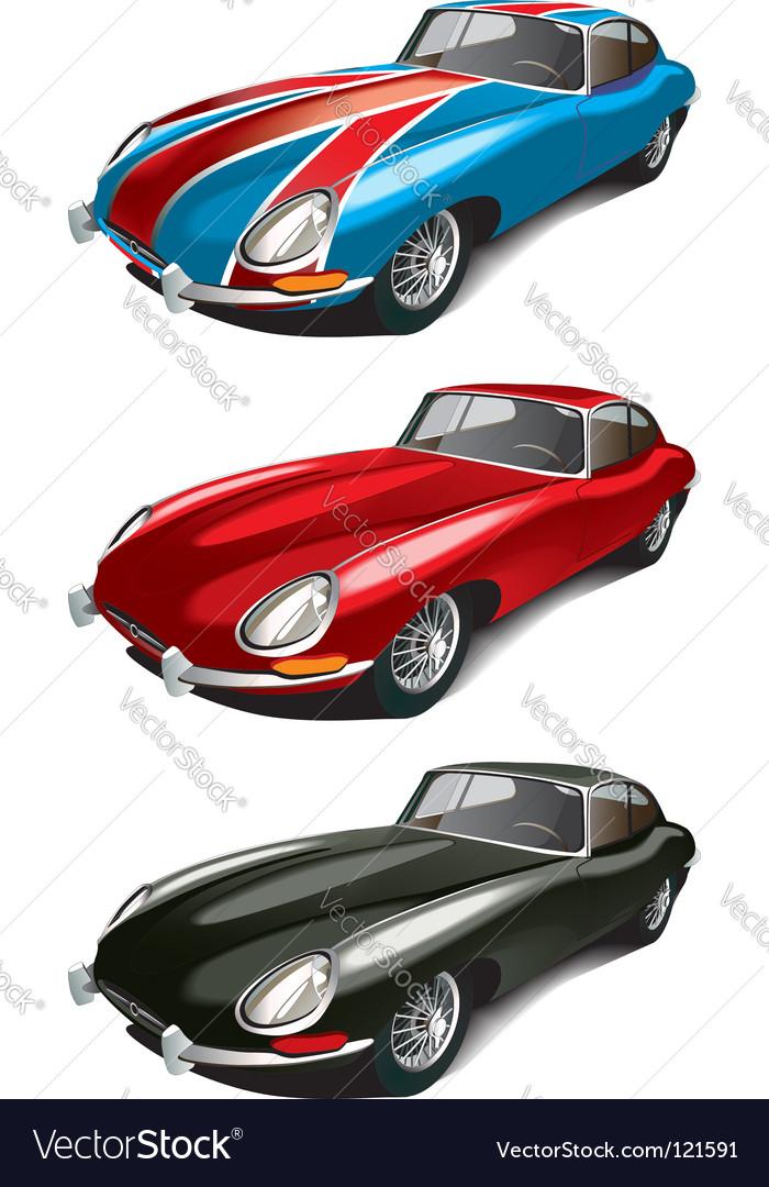 Retro English sport car set vector image