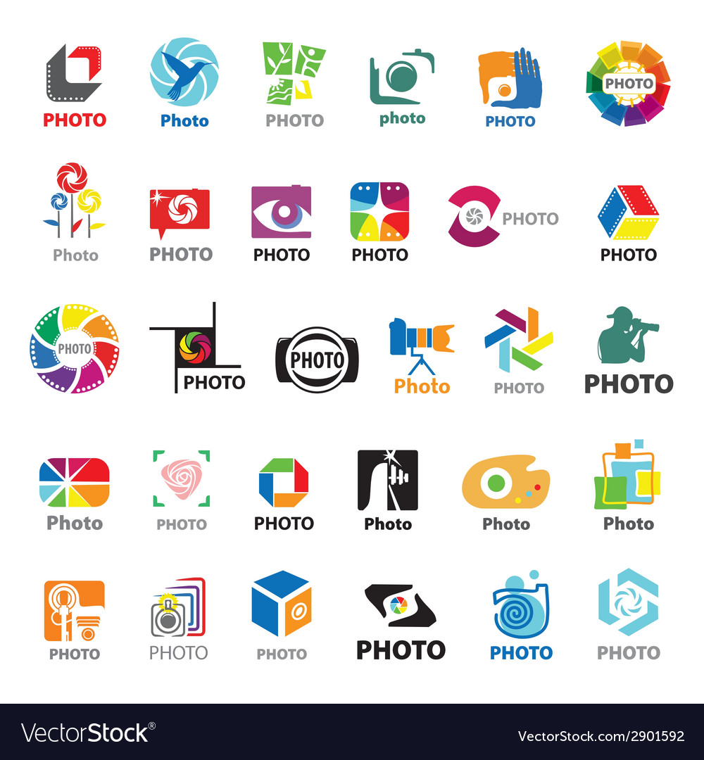 Biggest collection of logos for the photographer vector image