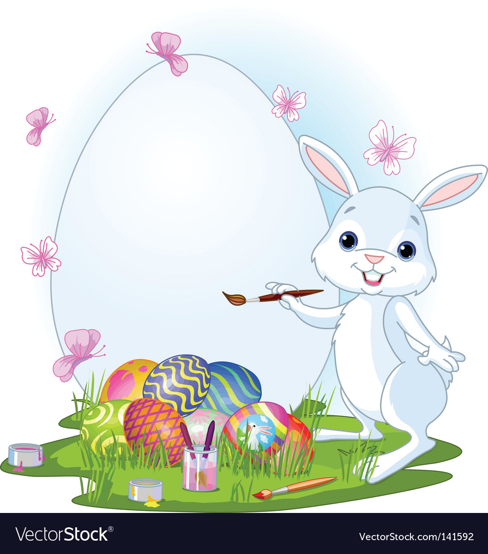 Easter bunny painting Easter eggs Royalty Free Vector Image for Real Easter Bunny With Eggs  570bof