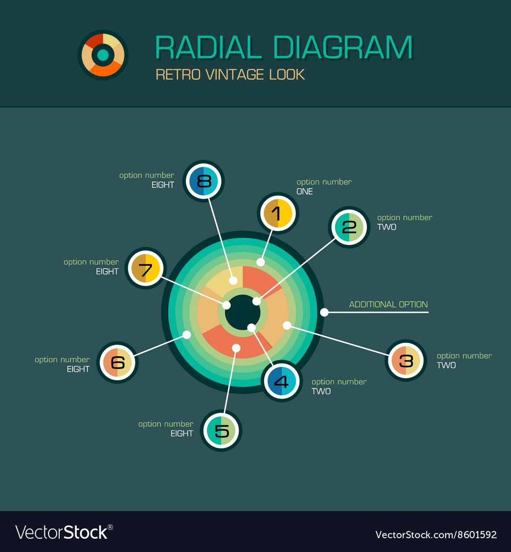 Radial diagram with beam pointers infographic vector image