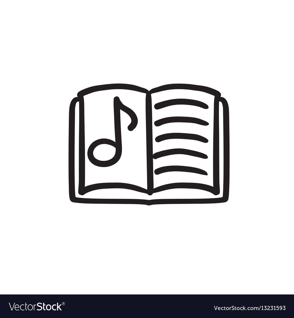 Music book sketch icon vector image