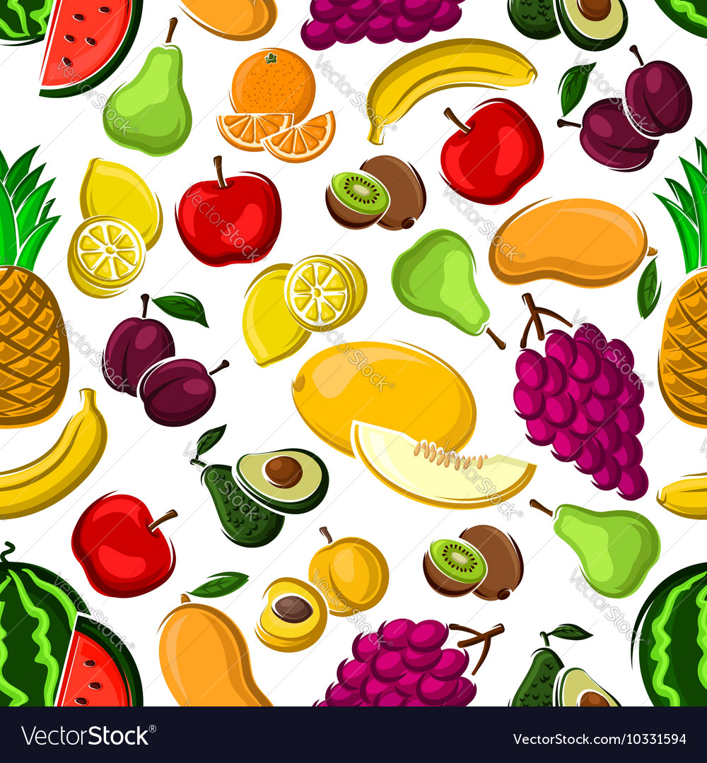 Sweet and juicy fruits seamless pattern vector image