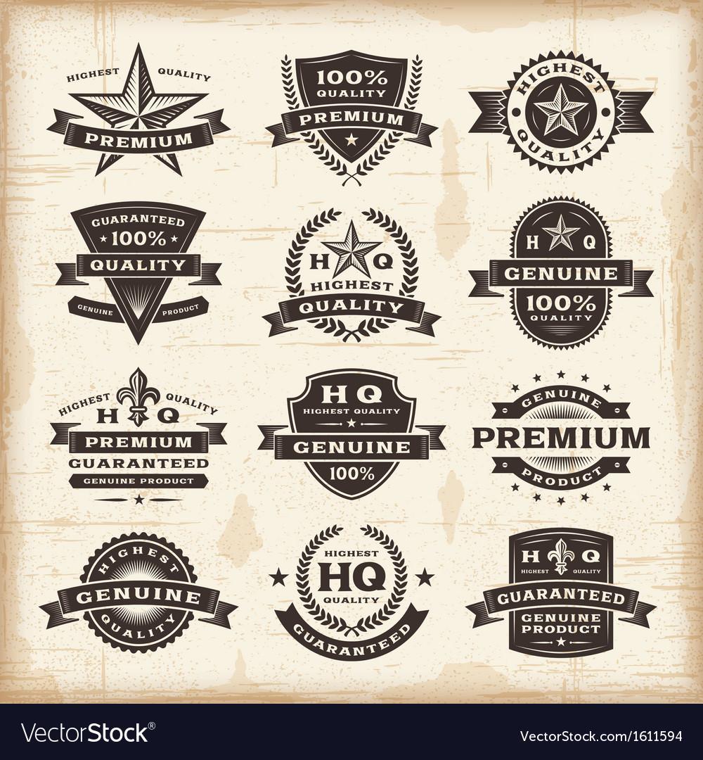 Vintage premium quality labels set vector image