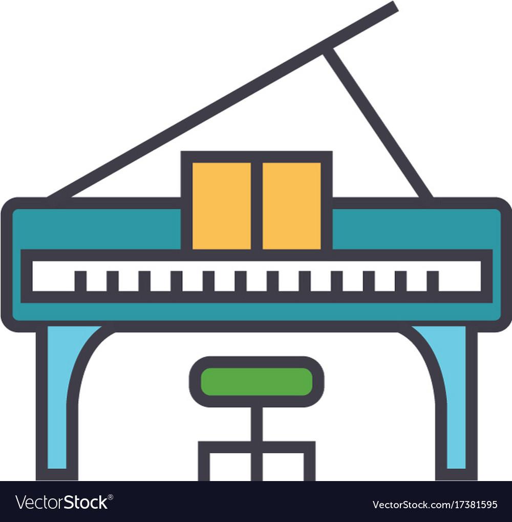 Piano concert flat line concept vector image