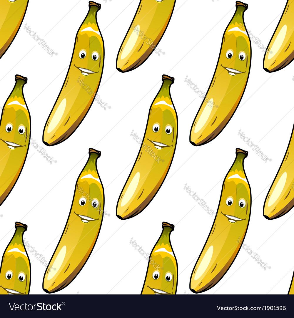 Seamless pattern of happy ripe yellow bananas vector image