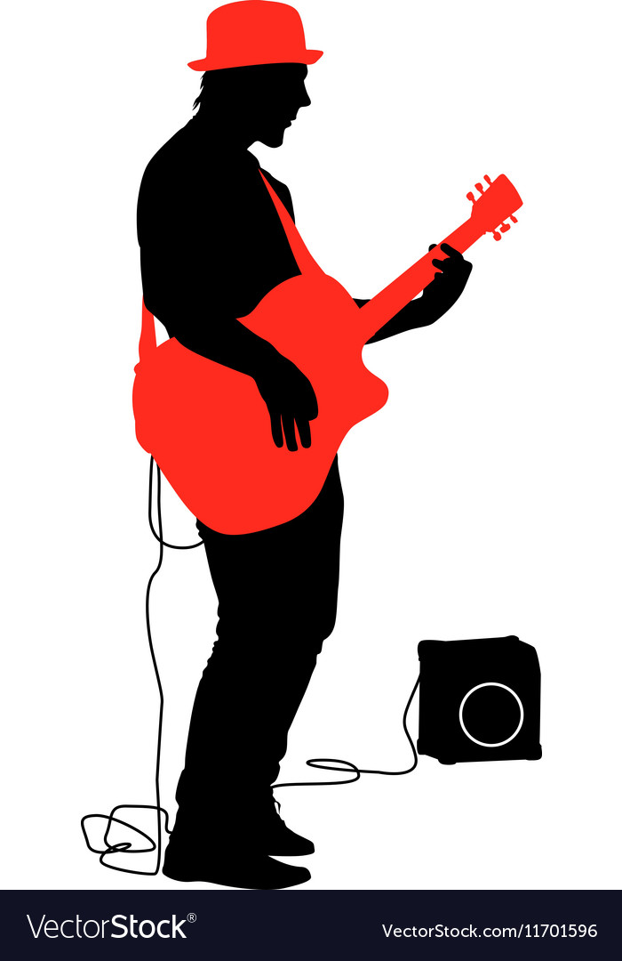 Silhouette musician plays the guitar vector image
