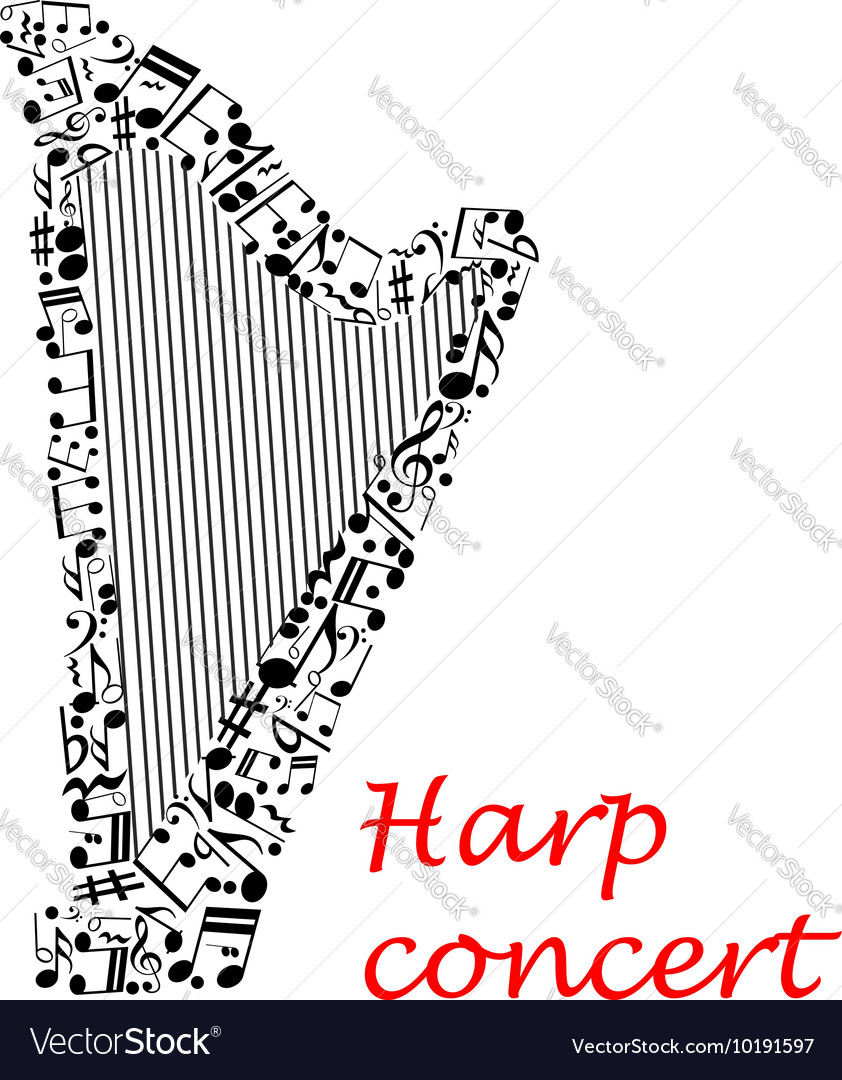 Poster design notes - Musical Poster Design With Harp And Notes Vector Image