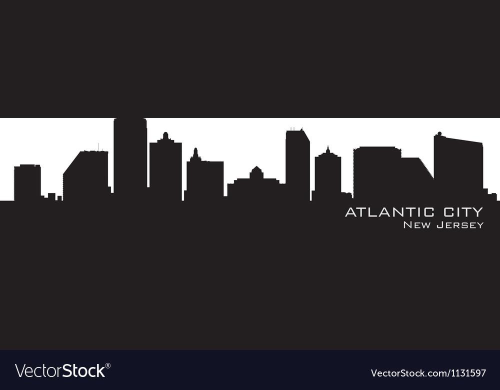 Atlantic City New Jersey skyline Detailed silhouet Vector Image