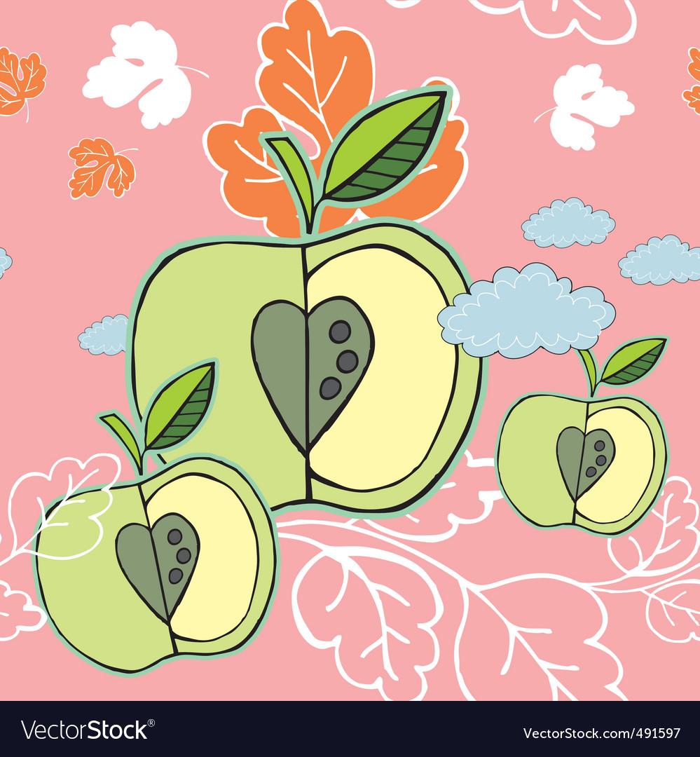 Autumn apple background vector image