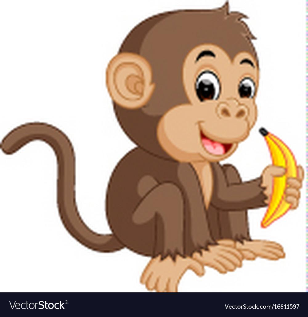 Cute monkey cartoon eating banana vector image