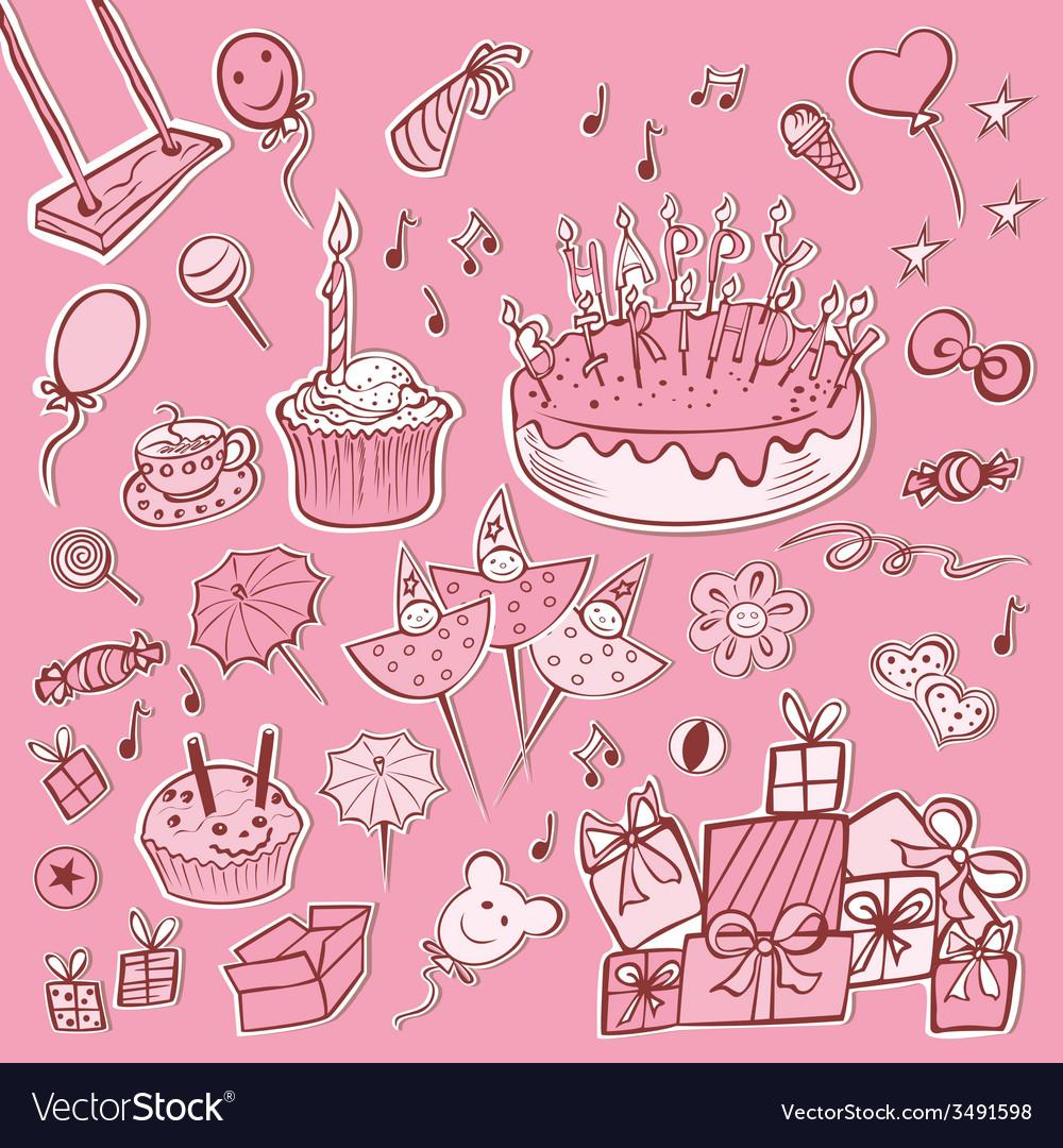 Happy birthday set pink vector image