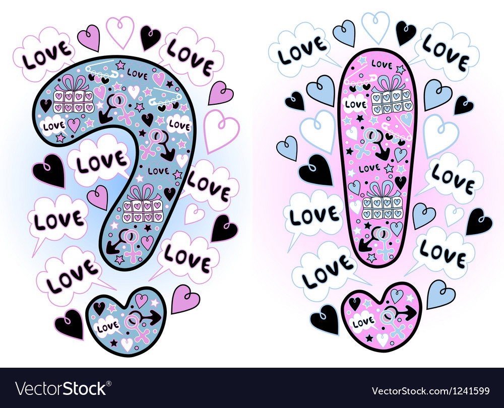 Love question and exclamation marks vector image