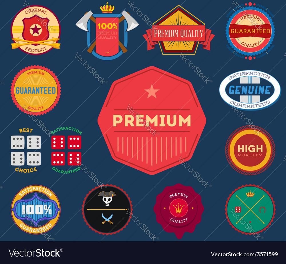 Set of flat colored vintage labels vector image