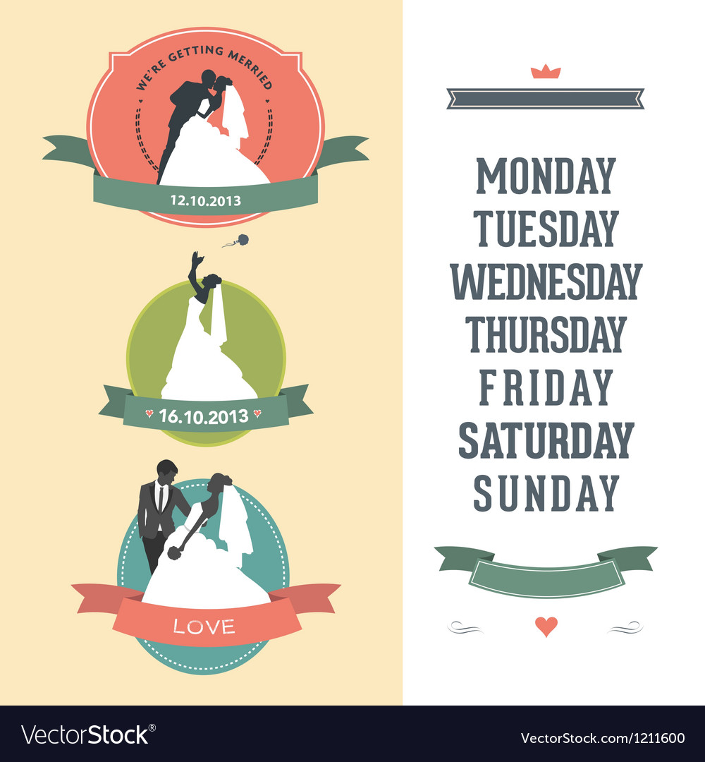 Newlyweds set vector image