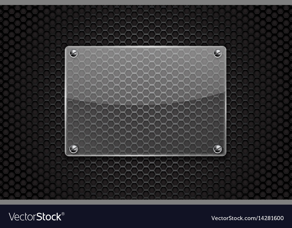 Transparent glass plate on dark metal perforated vector image