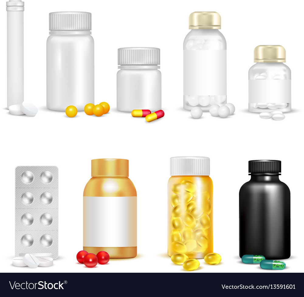 3d vitamins and packaging set vector image