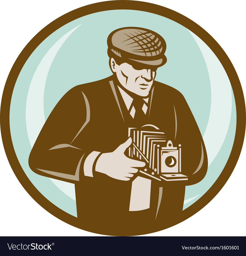 Photographer aiming retro vintage camera vector image