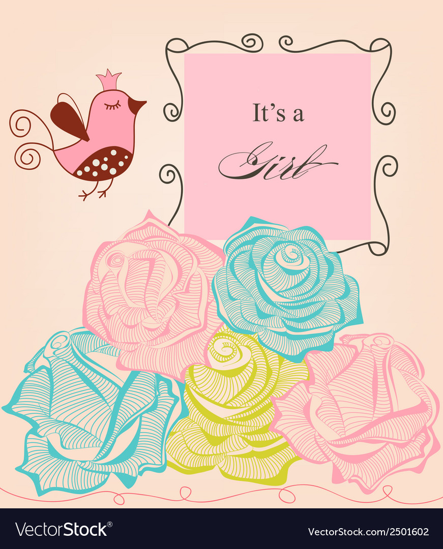 Floral baby girl shower roses and cute bird vector image