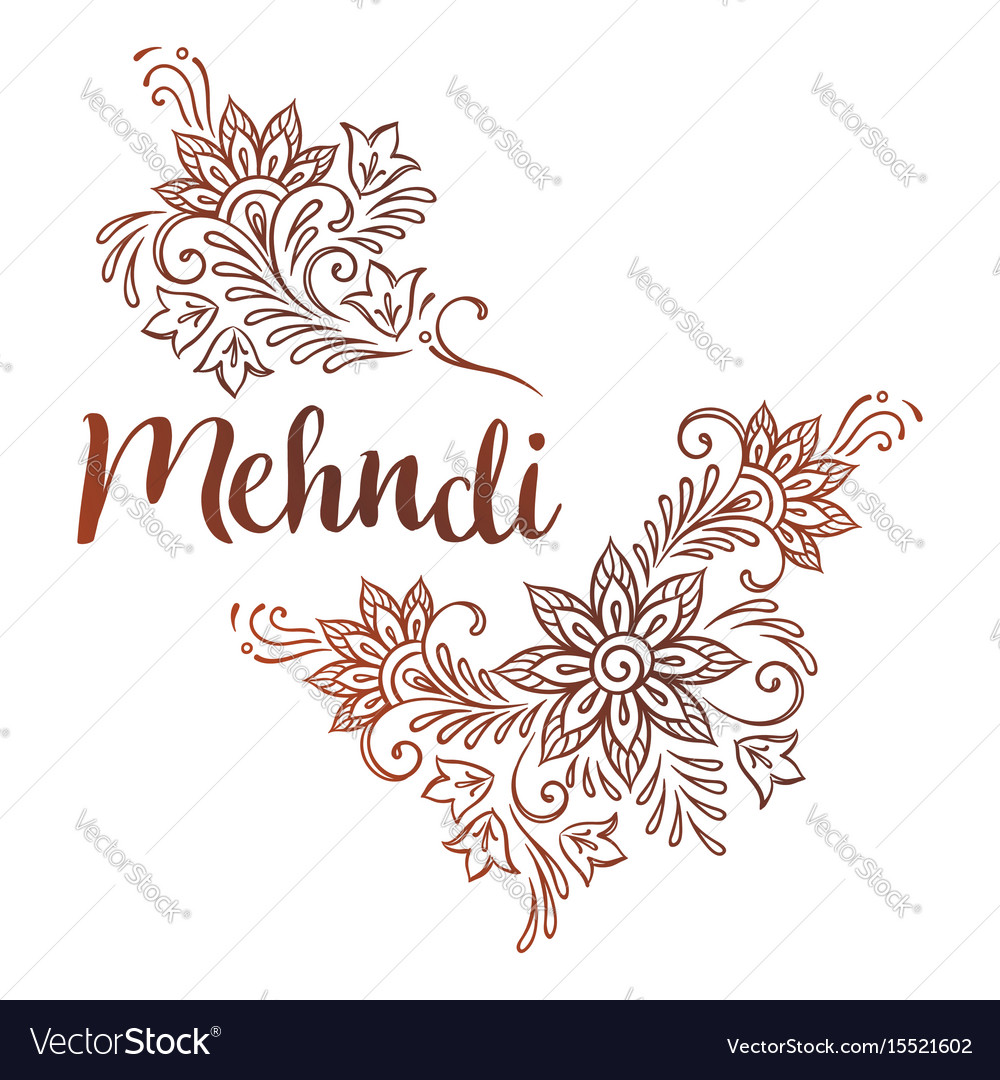 Mehndi Hand Vector Free Download : Hand drawn template for mehndi ornate ethnic vector image