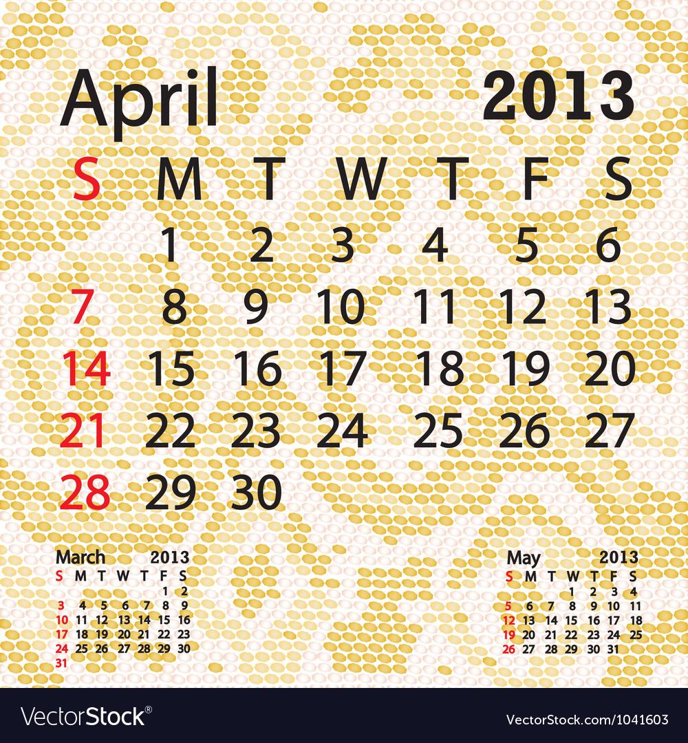 April 2013 calendar albino snake skin Vector Image
