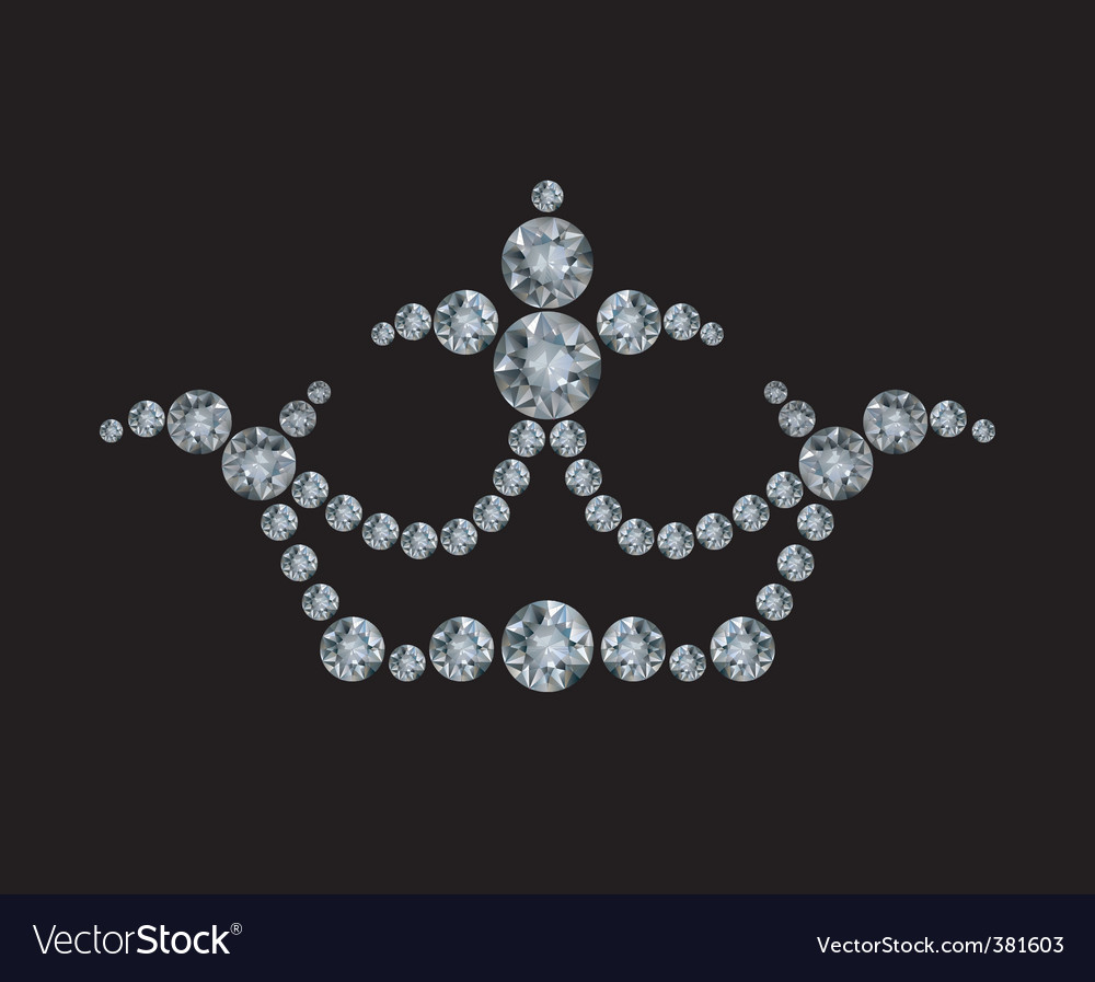Crown and diamonds vector image