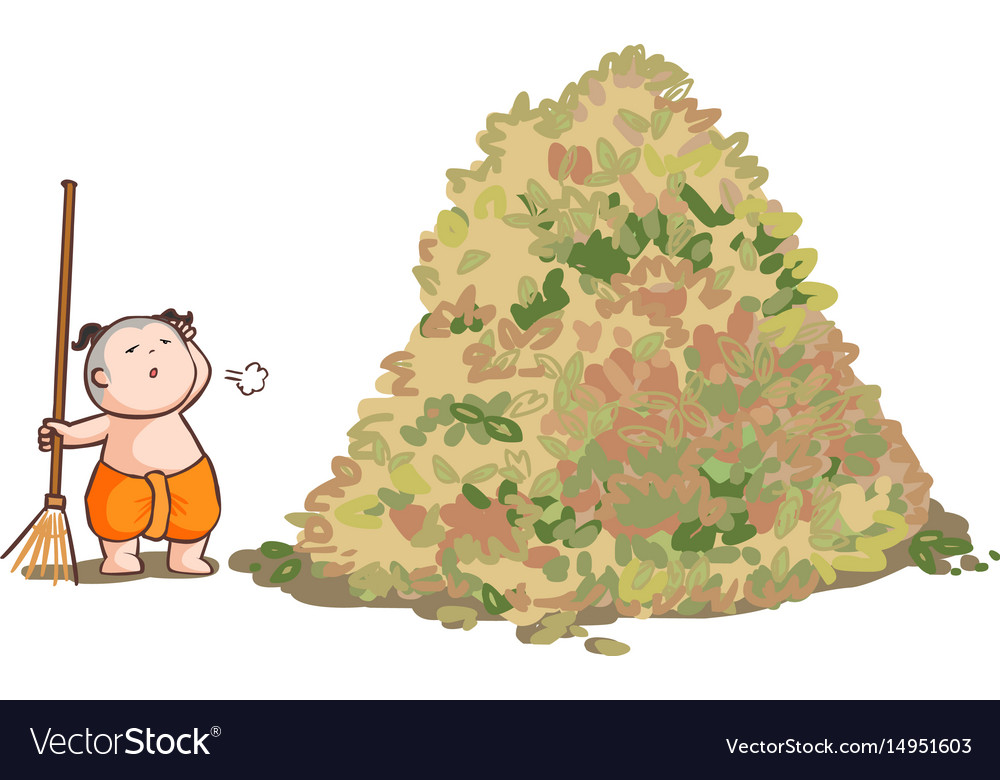 Thai kid sweep the huge pile leaves vector image