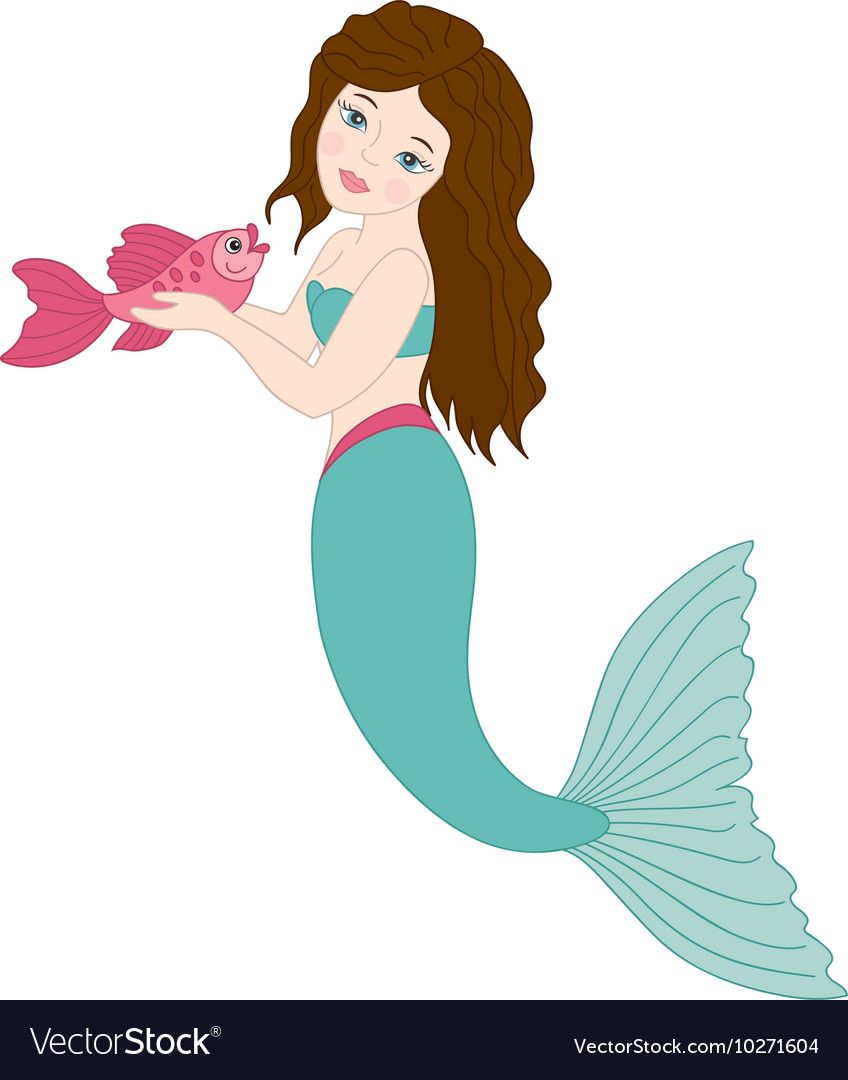 Mermaid With Fish vector image